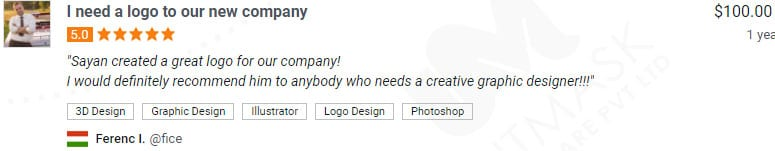 logo designer positive reviews freelancer